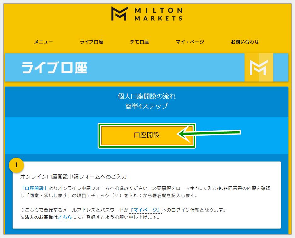 ミルトンマーケッツの口座開設方法